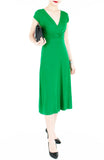 Romantic Knot Front Dress with Short Sleeves Midi Length - Emerald Green