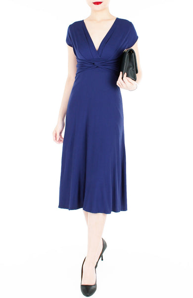 Romantic Knot Front Dress with Short Sleeves Midi Length - Monaco Blue