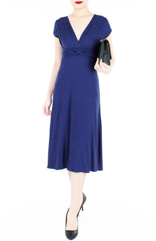 """Royal Engagement"" Dress with Short Sleeves Midi Length - Monaco Blue"