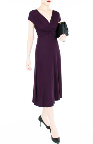 """Royal Engagement"" Dress with Short Sleeves Midi Length - Mulberry"