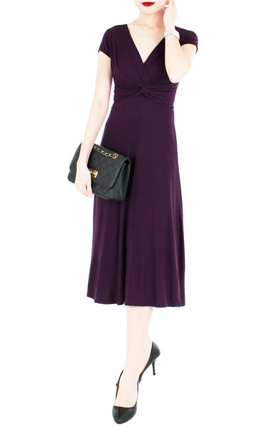 Romantic Knot Front Dress with Short Sleeves Midi Length - Mulberry
