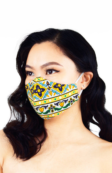 Royal Istanbul Pure Cotton Face Mask - Medallion Yellow
