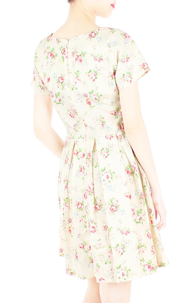 Rustic Radiance Flare Dress with Short Sleeves