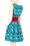 Saint Sailorette Flare Dress with Obi Belt - Turquoise