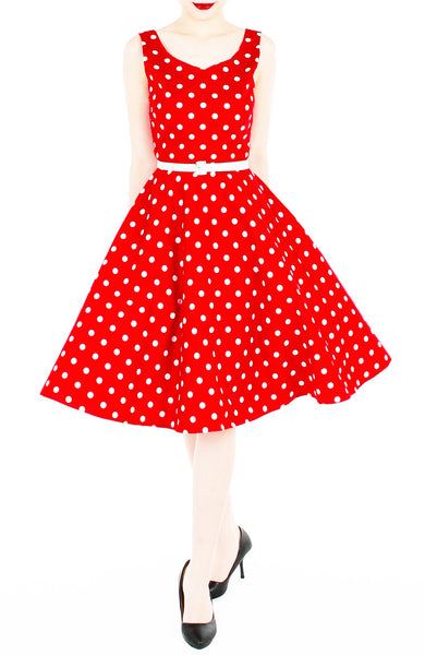 'Let's Do The Polka' Flare Midi Dress - Red