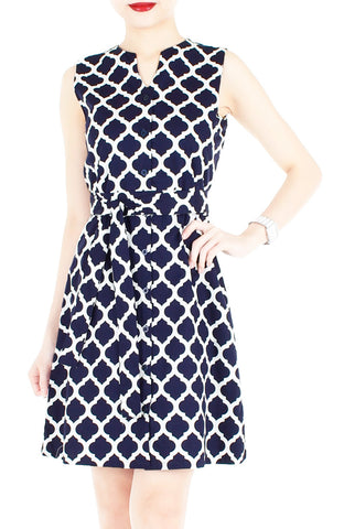 Sartorial Moroccan Mosaic A-Line Button Down Dress