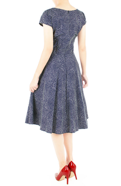 Sartorial Spots Flare Tea Dress - Midnight Blue