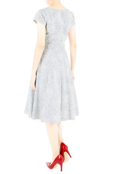 Sartorial Spots Flare Tea Dress - White