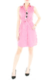 Sartorial Striped Shirtdress - Flamingo Pink