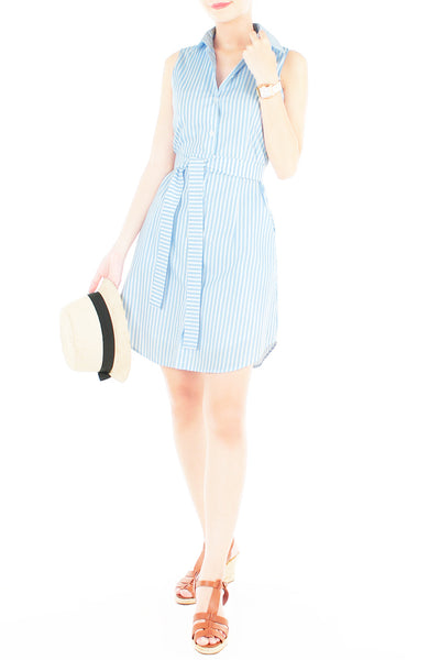 Sartorial Striped Shirtdress - Sky Blue