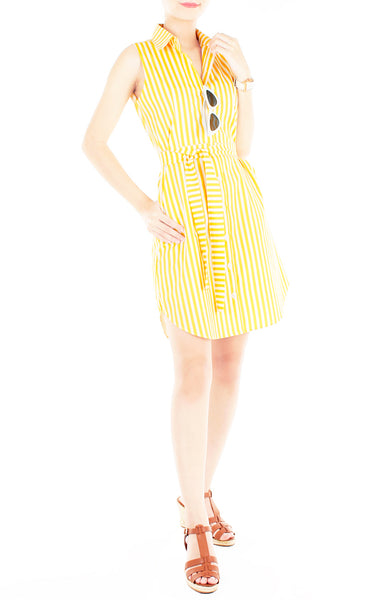 Sartorial Striped Shirtdress - Yellow Poppy