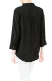 Saturday Comforts Mandarin Collar Top - Black