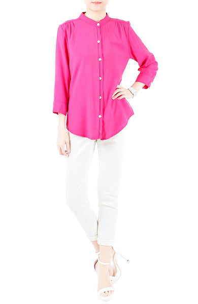 Saturday Comforts Mandarin Collar Top - Pink