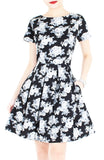 Secret Rose Garden Flare Dress in Short Sleeves - Black