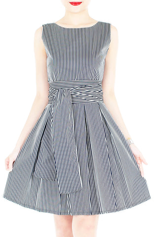 Serenity Striped Flare Dress with Obi Belt - Dark Blue
