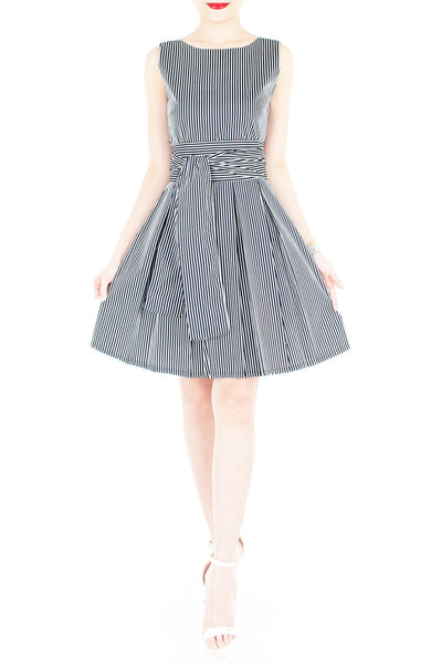 Serenity Striped Flare Dress with Wide Belt - Dark Blue