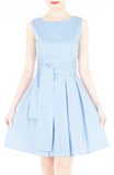 Serenity Striped Flare Dress with Wide Belt - Light Blue