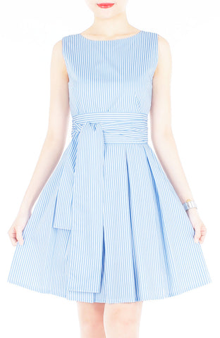 Serenity Striped Flare Dress with Obi Belt - Light Blue