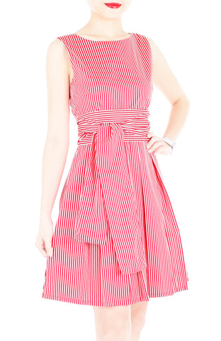 Serenity Striped Flare Dress with Obi Belt - Lipstick Red