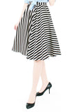 Smitten by Stripes 50s Flare Skirt - Black