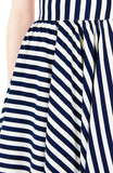 Smitten by Stripes 50s Flare Skirt - Midnight Blue