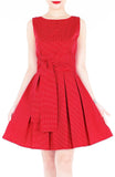 Snowflake Spots Flare Dress with Obi Belt - Cherry Red