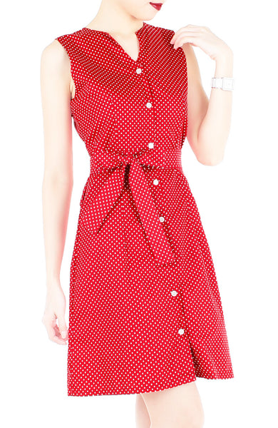 Snowflake Spots A-Line Button Down Dress with Belt - Red