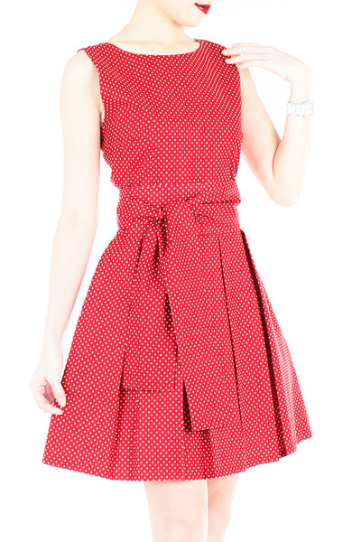 Snowflake Spots Flare Dress with Wide Belt - Cherry Red