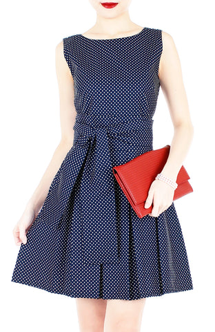 Snowflake Spots Flare Dress with Obi Belt - Night Blue