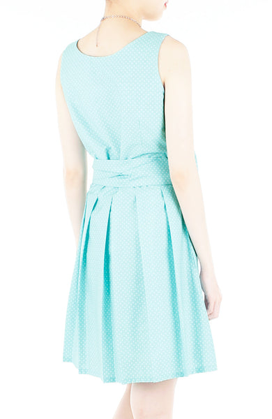 Snowflake Spots Two-way Flare Dress - Tiffany Blue