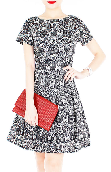 Sophisticated Specialty Lace Flare Dress with Short Sleeves - Black
