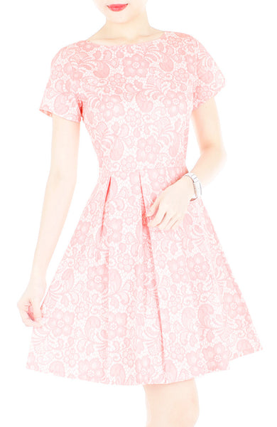 Sophisticated Specialty Lace Flare Dress with Short Sleeves - Soft Pink