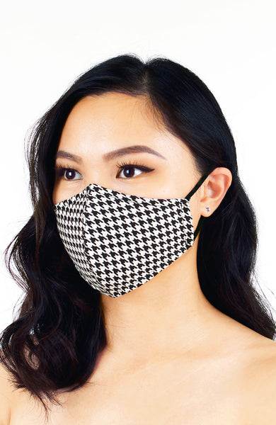 Sophisticated Houndstooth Pure Cotton Face Mask