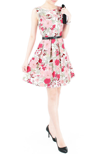 Spring Camellias Floral Flare Dress