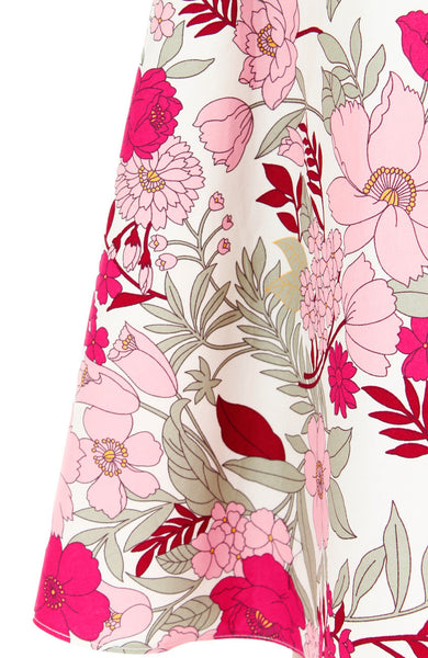 Spring Camellias Floral Flare Midi Dress