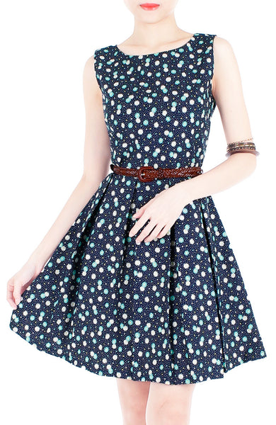 Spring Daisies & Confetti Flare Dress - Mint