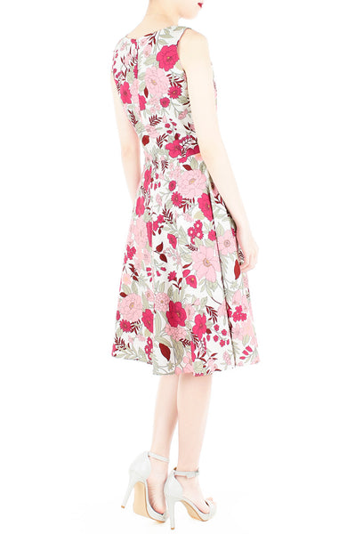 Spring Camellias Floral Flare Midi Dress - Lily White