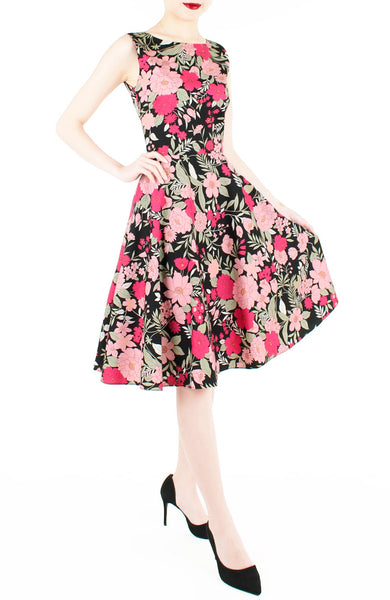 Spring Camellias Floral Flare Midi Dress - Noir Black