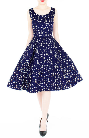 Starry, Starry Night Flare Midi Dress - Midnight Blue