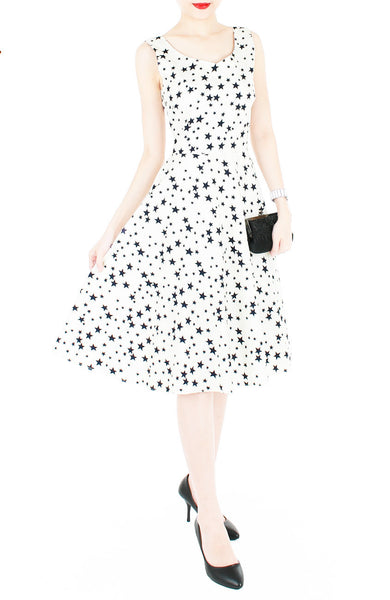 Starry, Starry Night Flare Midi Dress - White