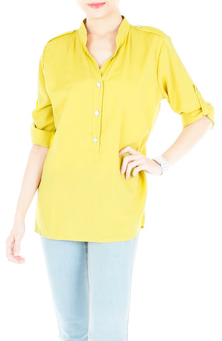 Stay Classic Utility Blouse - Honey Yellow