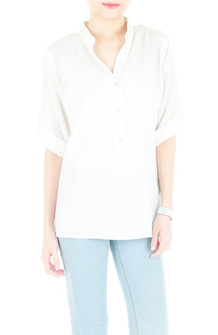 Stay Classic Utility Blouse - White