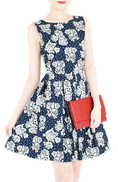 Steal The Rose Show Flare Dress - Dark Blue