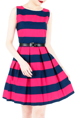 Stripe it Lucky Flare Dress - Fuchsia