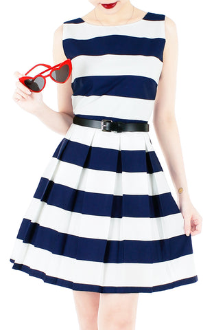 Stripe it Lucky Flare Dress - Navy
