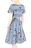 Stripes & Florals Done Right Flare Dress with Short Sleeves - Azure Blue
