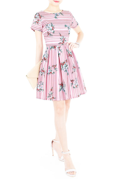 Stripes & Florals Done Right Flare Dress with Short Sleeves - Rose Pink