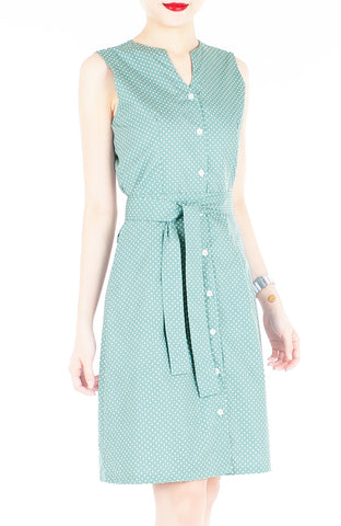 Style Spotted A-Line Button Down Dress in Knee Length – Moss Green