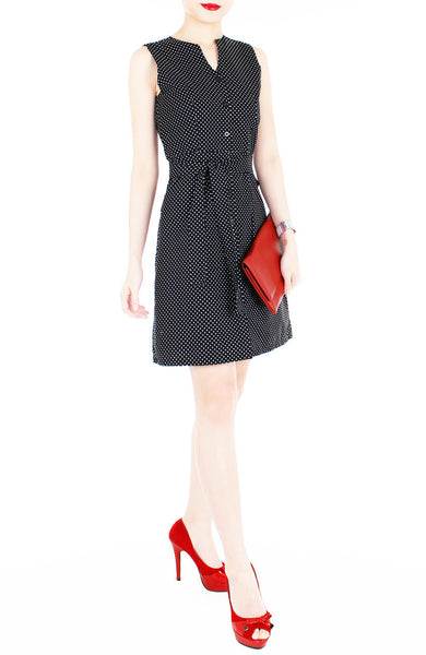 Style Spotted A-line Button Down Dress