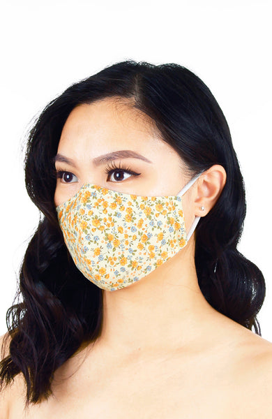 Sunset Orange Florets Pure Cotton Face Mask